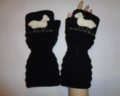 Hand knitted black gloves with needlecrafted sheep SPECIAL ORDER for junghans