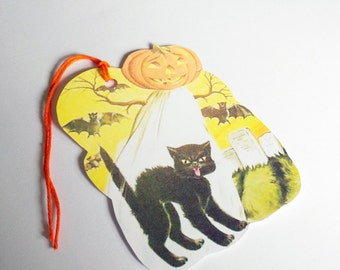Ghost And Cat - Retro Halloween - Gift Tags - Set of 3 - Jack O Lantern - Bats And Tombstones - Halloween Tags - 1950's Halloween -
