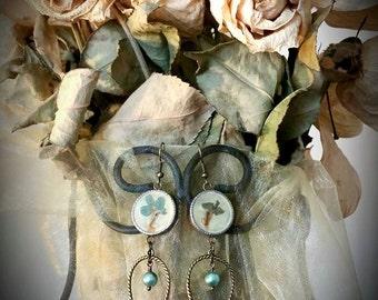 Pressed Flowers & Tweet Tweets Earrings in Powder Blue