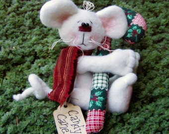 Christmas Ornament White Mouse with Candy Cane by Happy Valley Primitives