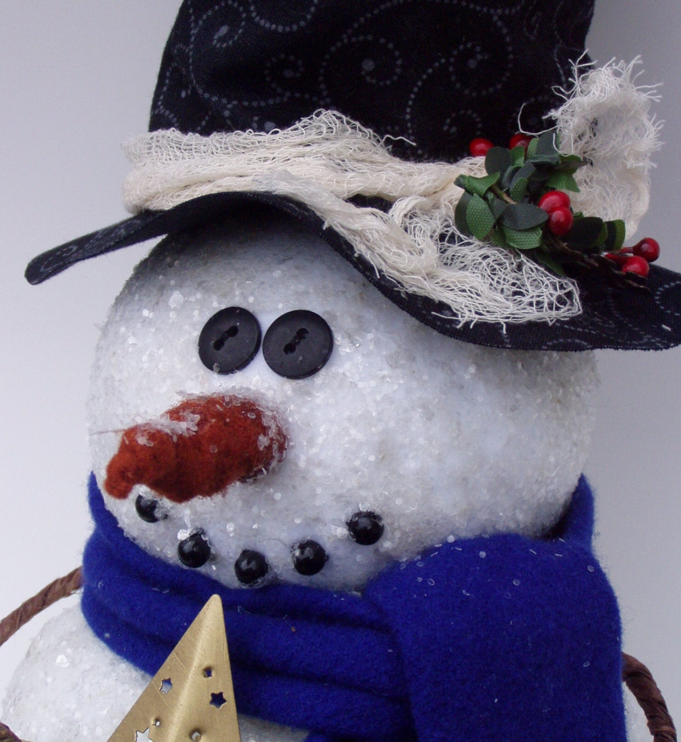 snowman tree topper by happy valley primitives. Black Bedroom Furniture Sets. Home Design Ideas