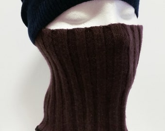 Thick Cashmere Face Mask In Plum * Face Nose Warmer * 100% Cashmere M to L * Men Women Children Upcycled Sweater Accessory