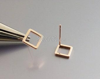 4 shiny bright rose gold 9mm diamond shape stud earrings, geometric jewelry earrings 2030-BRG-9