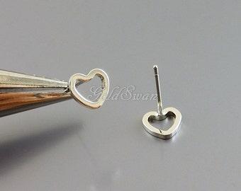 4 shiny 6mm tiny heart stud earrings, open heart silver earrings, heart earrings 1072-BR-6