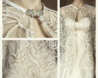 Celeste Bridal Wedding Cape Beaded Tulle Lace Rhinestone Clasp 1930's Hollywood Glamour Vintage Style