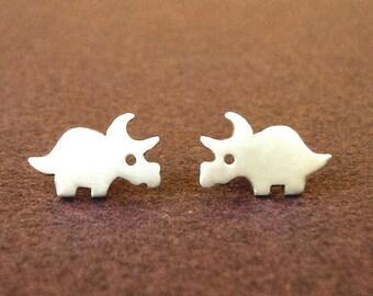 Dinosaur Earrings Dino Studs Triceratops Earrings Sterling Silver Teen Earrings Kids Jewelry  Post Earrings birthday gift Jewelry teen
