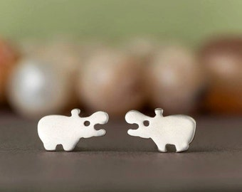 Sterling Silver Hippo Studs Hippo Earrings Kids Jewelry Gift mom animal jewelry animal earrings gift for her Birthday gift stud earrings