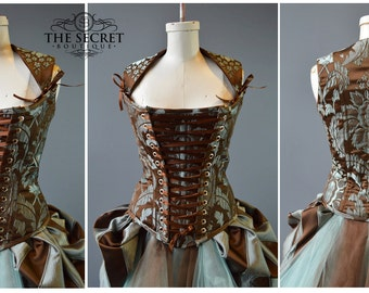 34-37 inch waist -corset-steampunk-corset with straps-cosplay-goth-plus-the secret boutique-front lacing-outlander-18th cent-french corset