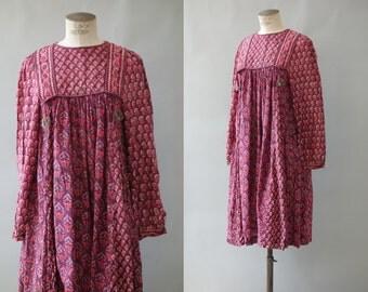 Phool dress   Pink floral cotton gauze indian dress   1970's by cubevintage   medium