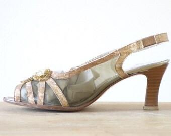 Mesh heels | Cinderella jewel peeptoes | 1950's by Cubevintage | size 38