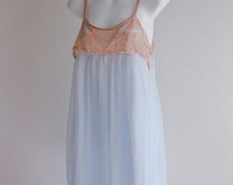 Ice Blue & Beige Lace Shortie Nightie, Size S
