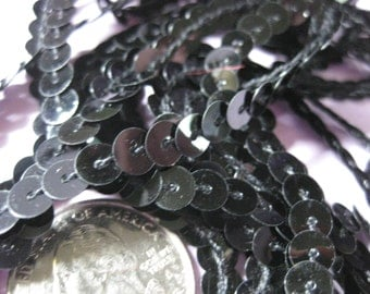 3 yards Black sequins trim 6mm sparkling for sewing flip books scrapbook costumes dance ship from USA