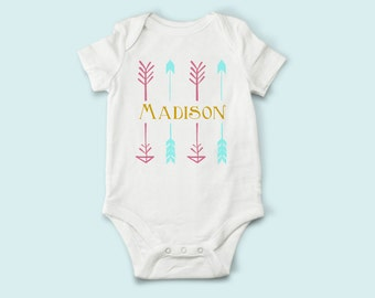 Personalized Name with Arrows Bodysuit, baby bodysuit, hospital gift, Baby Gift, Newborn Gift