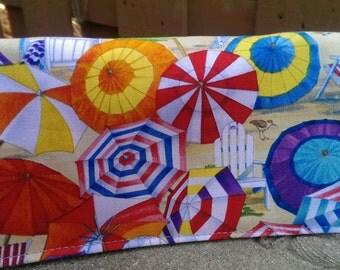 Handmade Fabric Checkbook Cover -   Beach Vista Umbrellas SandFlorida