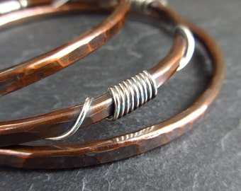 Copper and silver bangles, silver coil decoration, hammered bracelets, copper wedding anniversary, 7th anniversary gift, ladies bangles