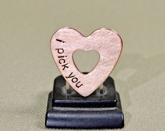 Double heart mini guitar pick in copper with I Pick You for triple the love - GP704