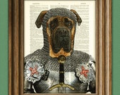 Sir Jowls the English Bullmastiff Knight of the Bark Table in armor Bull Mastiff beautifully upcycled dictionary page book art print
