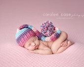 Elf Hat in Rose, Dusty Purple, Light Blue and Baby Pink