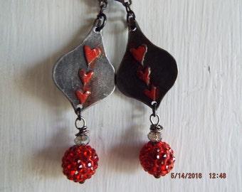 Handpainted Red Heart Earrings