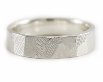 Silver Wedding Ring. Mens Band. Argentium Silver Wedding Band Etched design