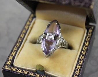 Art Deco 1920s 14K White Gold Filigree Amethyst Diamond Ring