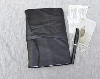 Black Leather Journal with Mixed Media Paper