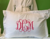 White monogrammed pillow sham