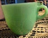 "Fire King Jadite Jade-ite St Denis Coffee Tea Cup 3"" tall Anchor Hocking Green c handle"