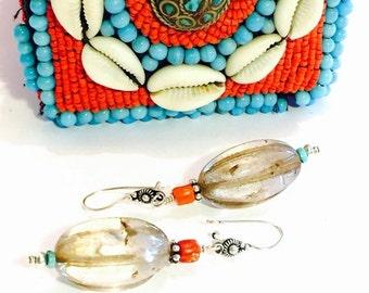 CIJ Christmas July SALE Old Tibetan Rock Crystal Sterling Silver Coral Turquoise Vintage Tribal Earrings