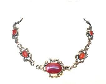 Beautiful Italian Renaissance Peruzzi  Cini Silver Open Back Carnelian Vintage Antique Necklace