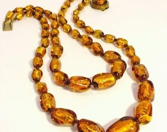 Valentines Lovers SALE Art Deco Italian Topaz Gold Foil Art Glass Vintage Necklace Art Deco Jewelry