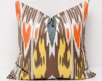 20x20 yellow orange brown ikat pillow cover, ikat pillows, ikat cushion,  yellow orange pillows, ikats from USA