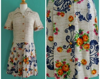 vintage floral print dress // pleated drop waist dress ~ small medium