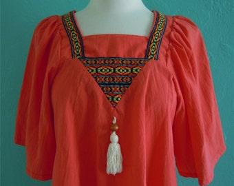 vintage 70's orange embroidered peasant top // boho top // hippie top // festival top
