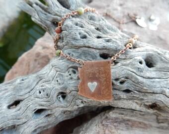 arizona state jewelry copper jewelry handmade state shaped necklace tiny silver heart copper state arizona jewelry natural unakite beads