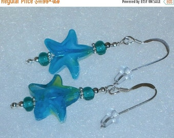 Halloween SPECIALS 925 Sterling Silver Teal Blue Star Beaded Dangle Earrings