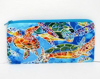 Zippered Pencil Pouch, Calypso Sea Turtles, Blue Zipper Bag