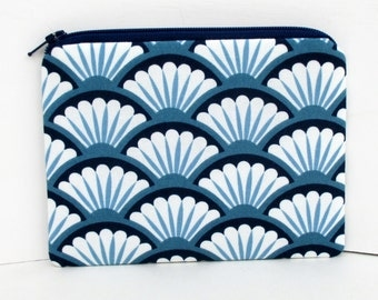 Small Zippered Pouch Bag, Navy Blue Scallops, Fan Dance, Mermaid Scales, Coin Purse