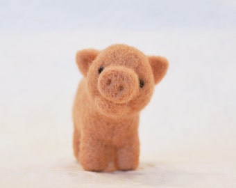 Pig, needle felted barnyard animal fiber art sculpture toys