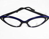 Vintage 50s Women's Black Blue Pointy Cateye Eyeglasses Eyewear NOS