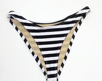 High hip bikini bottom stripes