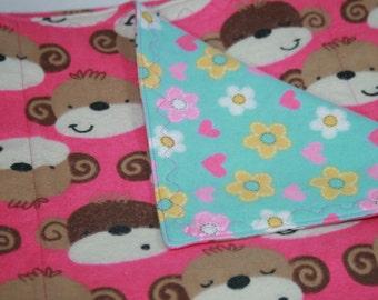 Flannel Baby Blanket (Monkey Girl)