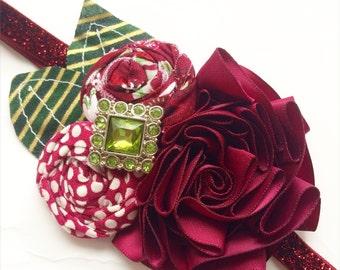 Holiday Sparkle headband - Burgundy and Green- (Ready to Ship)