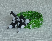 """Dog Scrunchie Collar:  Lucky Dog with black dotted bow - XSmall - 10"""" to 12"""" neck - OOAK"""