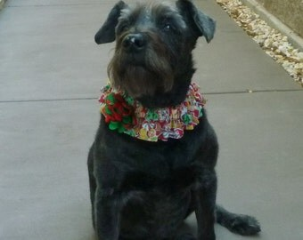 "Christmas Cookies Dog Scrunchie Collar with green and red puff flower: L 16"" to 18"" neck"