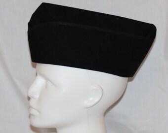 Steampunk Hat -  Military Cap - Steam Punk Hat - Black Cap - Flight Cap - Garrison Hat - Wedge Cap - Womens -  Mens - Unisex