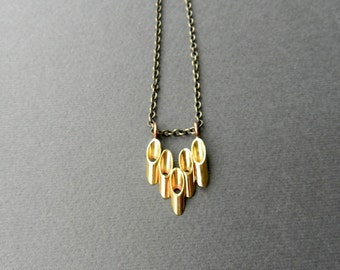 "Fluted Deco Necklace, Gold Color Chevron Pendant, 30"" Long Chain, Modern Chic Style, Geometric Necklace, Brass Jewelry"