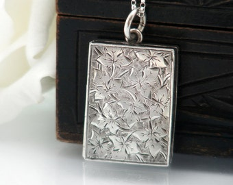 1880 Victorian Book Locket, Antique Sterling Silver Locket | English Hallmarked Sterling Silver - 20 Inch Sterling Silver Chain Included