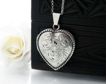 Vintage Sterling Silver Heart Locket | Engraved Silver Heart, Rope Twist Edge | 1950s English Heart Locket - 20 Inch Silver Chain Included