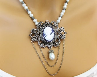 Victorian Pearl Cameo Necklace, Cameo Brooch, Beaded Necklaces, Cameo Jewelry, Cameo Necklaces, Pearl Necklace Cameo, Bridesmaid Jewelry